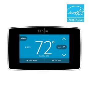 Emerson - Sensi Smart Programmable Touch-Screen Wi-Fi Thermostat - Black